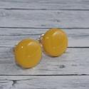 Napsárga bedugós pötty fülbevaló, Ékszer, óra, Fülbevaló, Hőre keményedő gyurmából készült citromsárga vagy napsárga bedugós pötty fülbevaló. Mérete 0,8 cm,  ..., Meska