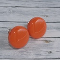 Narancssárga bedugós pötty fülbevaló, Ékszer, óra, Fülbevaló, Hőre keményedő gyurmából készült narancssárga bedugós pötty fülbevaló. Mérete 1,5 cm,  de boltomban ..., Meska