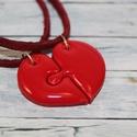 Puzzle szív barátság medál , Ékszer, óra, Medál, Nyaklánc, Hőre keményedő gyurmából készült szív alakú barátság medál, mely 2 különálló részre szedhető szét.  ..., Meska