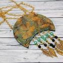 Elegáns zöld arany indián nyaklánc, Ékszer, óra, Nyaklánc, Különleges technikával készült üveg hatású nyaklánc, mégsem törékeny és nagyon könnyű elegáns, alkal..., Meska