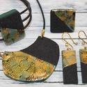Elegáns  zöld, arany és fekete szett, Ékszer, Ékszerszett, Különleges technikával készült üveg hatású nyaklánc, mégsem törékeny és nagyon könnyű elegáns, alkal..., Meska
