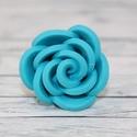 Türkiz rózsa gyűrű, Ékszer, óra, Gyűrű, Hőre keményedő gyurmából készült elegáns, alkalmi rózsa gyűrű, állítható méretű. Átmérője 3 cm.  Töb..., Meska