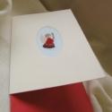 Angyalos üdvözlőlap, Dekoráció, Naptár, képeslap, album, Ajándékkísérő, képeslap, Képeslap, levélpapír, Hímzés, Papírművészet, Keresztszemes hímzéssel díszített üdvözlőlapunk mérete 10x15 cm. A mintát osztott hímzőfonallal pan..., Meska