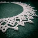 Fehér gyöngynyakék, Ékszer, Esküvő, Nyaklánc, Esküvői ékszer, Gyöngyfűzéssel készült nyakék. Minőségi cseh kásagyöngyből, apró, szintén minőségi cs..., Meska