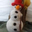 Hóember, Baba-mama-gyerek, Dekoráció, Otthon, lakberendezés, Waldorf jellegű, tűnemezelt technikával készült hóember dekorációként az évszakasztalra va..., Meska