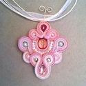 Rózsaszín swarovsky kristály berakású sujtás nyakék, Ékszer, óra, Nyaklánc, Varrás, Gyöngyfűzés, A nyakék színei rózsaszín, szürke és ezüst. A tekla gyöngyök üveg swarovsky gyöngyök, a rózsaszín c..., Meska