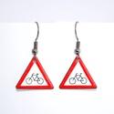 Vigyázat Kerékpár!, Ékszer, Fülbevaló, Tűzzománc fülbevaló, 1,8cm oldalú háromszög forma., Meska