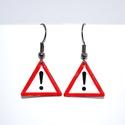 Különleges veszély, Ékszer, Fülbevaló, Tűzzománc fülbevaló, 2cm oldalú háromszög forma., Meska
