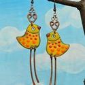 Sárga pettyes madár, madár fülbevaló, madaras fülbevaló, sárga madaras fülbevaló, , Zöld pettyes madár. Kedves, vidám hangulatú ma...