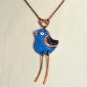 Kék madár, tűzzománc nyaklánc, galamb, madár nyaklánc, madár medál, madaras medál, madaras nyaklánc, galamb nyaklánc, Kedves, vidám hangulatú kék madár medál, hoss...