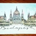 Képeslap - Budapest, Naptár, képeslap, album, Képeslap, levélpapír, Festészet, Budapest- Parlament képeslap, kézzel festett, akvarelltechnikával készült. A kép mérete 12,5x18 cm,..., Meska