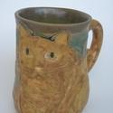 Csíkos Vörcsi cica kőedény bögre 278 ml, Konyhafelszerelés, Férfiaknak, Bögre, csésze, Kerámia, A füle a farka:)  Természet- és macskakedvelőknek nagy örömet okozol vele!  Elégedett kövér, békés ..., Meska