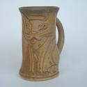 Karcsú sziámi macska kőedény bögre , Konyhafelszerelés, Férfiaknak, Bögre, csésze, Kerámia, Karcsú karemellás-kávé színű bögre reggeli élénkítő-melegedődhöz. Kávé-forrócsoki előnyben.  Termés..., Meska