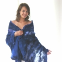 Nemezelt selyem stóla - Kék, Ruha, divat, cipő, Kendő, sál, sapka, kesztyű, Sál, Nuno nemez stóla. Kézzel készült, kiváló minőségű, 100% természetes anyagokból: Kék hern..., Meska