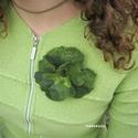 VIRÁGOSAN - NEMEZESEN :) - zöld vidámság virág hajdísz, ruhadísz , Ékszer, Ruha, divat, cipő, Bross, kitűző, Hajbavaló, Nemezelés, Varrás, Három mély színű zöld merinóból nemezeltem a virágot. Kevesen feltűnő virág. Gyöngyöztem, kitűző al..., Meska