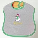 Névre szóló baba előke karácsonyi hóember hímzéssel, Baba-mama-gyerek, Ruha, divat, cipő, Baba-mama kellék, Gyerekruha, , Meska