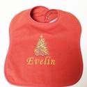 Névre szóló baba előke karácsonyfa hímzéssel, Baba-mama-gyerek, Ruha, divat, cipő, Baba-mama kellék, Gyerekruha, , Meska