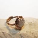 Rózsakvarc vörösréz steampunk gyűrű, Ékszer, Gyűrű, Rusztikus, steampunk hangulatú vörösréz gyűrű készült rózsakvarc kővel, forrasztásos technikával.  M..., Meska
