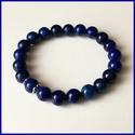 Lápisz lazuli ásványi karkötő, gömb alakú magas minőségű természetes féldrágakövekből., Ékszer, Karkötő, Lápisz lazuli ásványi karkötő, gömb alakú magas minőségű természetes féldrágakövekből.  Különleges r..., Meska