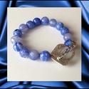 Fazettált kék achát ásvány karkötő, 1 cm-es, magas minőségű természetes féldrágakövekből, Ékszer, Karkötő, Fazettált kék achát ásvány karkötő, 1 cm-es, magas minőségű természetes féldrágakövekből  Különleges..., Meska