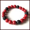 Piros türkíz ásványi karkötő lávakővel, 1 cm-es, gömb alakú magas minőségű természetes féldrágakövekből, Ékszer, Karkötő, Piros türkíz ásványi karkötő lávakővel, 1 cm-es, gömb alakú magas minőségű természetes féldrágakövek..., Meska