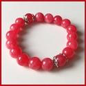 Piros jáde ásványi karkötő, 1 cm-es, gömb alakú magas minőségű természetes féldrágakövekből, Ékszer, Karkötő, Piros jáde ásványi karkötő, 1 cm-es, gömb alakú magas minőségű természetes féldrágakövekből  Különle..., Meska