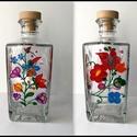 Üvegfestett pálinkásüveg , Otthon & lakás, Lepd meg szeretteidet ezzel az üvegfestett népi motívumos dekor pálinkásüveggel.  Az üveget törésbiz..., Meska