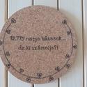 Parafa edényalátét , Pirográf technikával díszített parafa edényal...