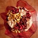 Menyasszonyi csokor mediterrán színekkel, Esküvő, Dekoráció, Esküvői csokor, Virágkötés, Ez a csokrom a kedvenc színeimet tükrözi vissza: bordó,barna, óarany, bézs...   Mindkét oldalán fén..., Meska