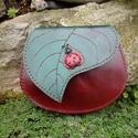 Katicás-leveles pénztárca, A pénztárcát marhabőrből készítettem. A lev...