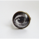 Szem - Vintage gyűrű, Vintage gyűrű, fekete fehér képpel az üveglen...