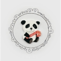 Panda Cukorpálcával Rajzolt Bross, Ékszer, Bross, kitűző, Fehér zsugorfóliából készült.  Kézzel rajzoltam, illetve akrillal festettem is. Lakkoztam, hátára ki..., Meska