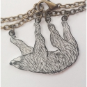 Lajhár nyaklánc - Rajzolt zsugorka, Kézzel rajzoltam ezt a lajhárt, amit bronz szín...