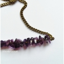 Ametiszt nyaklánc, Ametiszt bronz színű szerelékekkel és nyaklán...