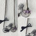 Biciklis nyaklánc - Vintage, Ékszer, Nyaklánc, Medál, Biciklis vintage nyaklánc. Áttetsző, zsugorka medállal, 3 db ametiszt kvarccal és egy pici szaténmas..., Meska
