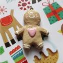 Mézeskalács figura, mézi medál láncon, Ékszer, Medál, Nyaklánc, Igazi karácsonyi ékszer várja gazdáját.  Jópofa, gyurmából készült 38 mm magas figura, kb. 50 cm-s e..., Meska