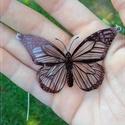Pillangó  - Zsugorka medál láncon, Ékszer, Medál, Nyaklánc, Átlátszó zsugorkára rajzoltam ezt a pillangót.   A medál mérete: 65 x 45 mm A lánc teljes hossza (pi..., Meska