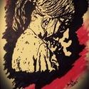 Nincs okom a félelemre ...., Képzőművészet, Grafika, Rajz, Festészet, Fotó, grafika, rajz, illusztráció, Trash Polka stílus irányban készült A/4-es kép idézettel. Fekete filc és piros krétával készült söt..., Meska