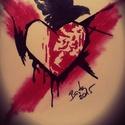Jószívűnek maradni ..., Képzőművészet, Grafika, Rajz, Festészet, Fotó, grafika, rajz, illusztráció, Trash Polka stílus irányban készült A/4-es kép idézettel. Fekete filc és piros krétával készült bar..., Meska