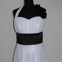 Fehér-fekete  menyasszonyiruha méretre rendelésre, Esküvő, Ruha, divat, cipő, Menyasszonyi ruha, Esküvői ruha, Varrás, A-vonalú hosszú menyasszonyi ruha, levehető nyakpánttal.  Ruha fehér muszlinból és szaténból készül..., Meska