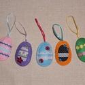 Húsvéti filc tojás dekoráció, Otthon, lakberendezés, Húsvéti apróságok, Varrás, Húsvéti színes filc tojás dekoráció tojásfára. A tojások  színes dekorfilcből,szalagokból,gombokból..., Meska
