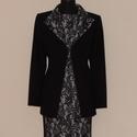 Csipkeruhás kosztüm, Ruha, divat, cipő, Női ruha, Kosztüm, Kabát, Varrás, A kosztüm fekete fehér rugalmas csipke mintájú ujjatlan ruhából és fekete bélelt szövet zakóból áll..., Meska