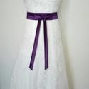Megkötős szaténöv  esküvőre, Ruha, divat, cipő, Esküvői ruha, Öv, Padlizsán lila színű megköthető szaténöv esküvői és alkalmi ruhára. Derék méret:98 cm-i..., Meska