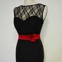 Szaténöv  virággal , Ruha, divat, cipő, Esküvői ruha, Öv, Piros színű szaténöv rózsával a kis feketére. Méretre rendelhető 64-76 cm méretre.  , Meska
