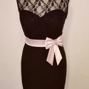 Masnis  szaténöv, Ruha, divat, cipő, Esküvői ruha, Öv, Púder rózsaszín színű szaténöv masnival a kis feketére. Méret:64-70 cm, Meska