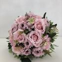 Halvány, púder rózsaszín rózsás menyasszonyi örökcsokor, Gyönyörű örökcsokor, minőségi rózsaszín s...