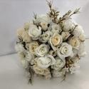 Fehér mini rózsás menyasszonyi örökcsokor, Gyönyörű örökcsokor, minőségi rózsaszín s...