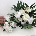 Fehér rózsás és bazsarózsás menyasszonyi örökcsokor, Gyönyörű örökcsokor, minőségi fehér örök...