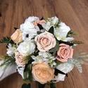 Narancssárga és fehér rózsás menyasszonyi örökcsokor, Gyönyörű örökcsokor, minőségi fehér és na...