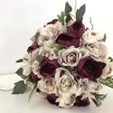 bazsarózsás és rózsás menyasszonyi örökcsokor, Gyönyörű örökcsokor, minőségi selyemrózsá...